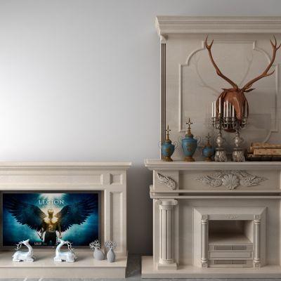 壁炉,镜子,柴火