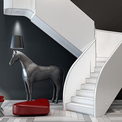 现代楼梯马形落地灯