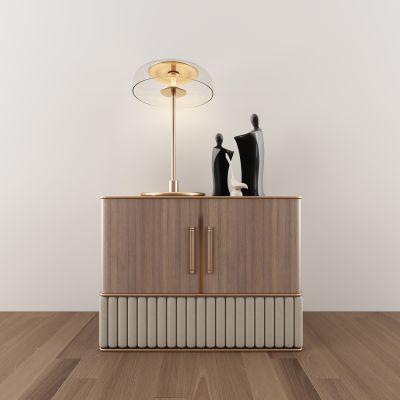 现代新中式边柜台灯组合3d模型