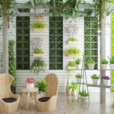 北欧小清新阳光房花房户外阳台植物藤蔓绿植休闲椅组合