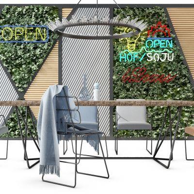 现代绿植墙椅子吊灯