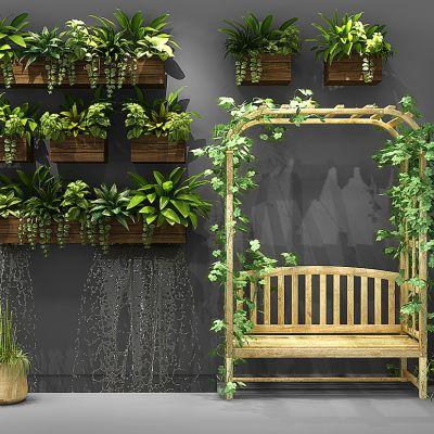 现代盆栽藤蔓植物户外休闲椅组合