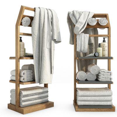 现代毛巾浴袍卫浴柜架组合