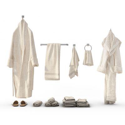 现代浴袍、毛巾组合