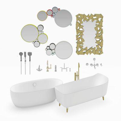 浴缸花洒装饰镜组合