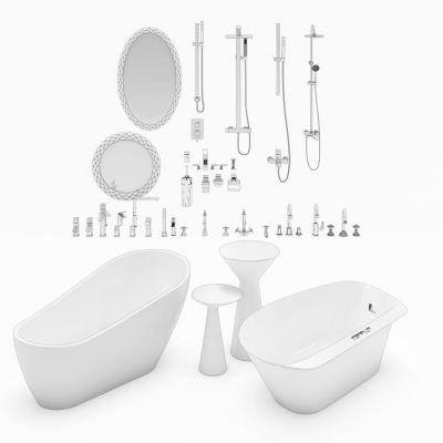 浴缸淋浴水龙头装饰镜组合