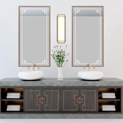 中式卫生间洗手台镜子