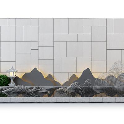 水景山形石头