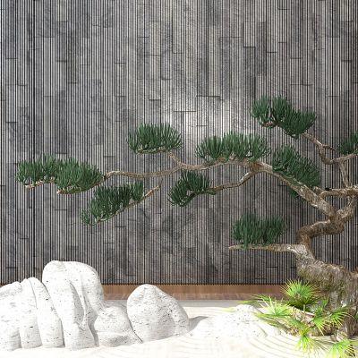 中式园艺小品枯山水松树