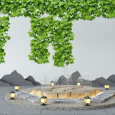 园林水景植物墙