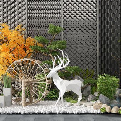 现代植物景观水车鹿雕塑石头水系瓦片墙