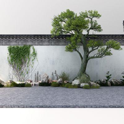 中式院墙中式景观植物石头石狮子藤曼竹子