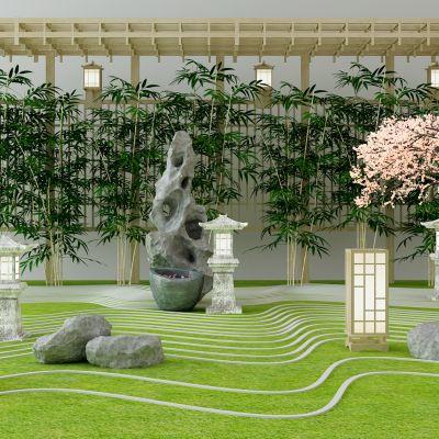 园林景观太湖石竹子