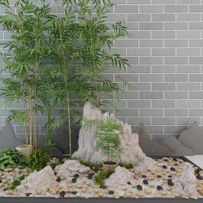 园林景观石头竹子