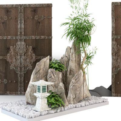 园林景观石头木门