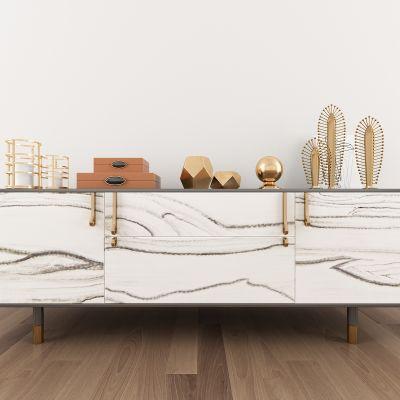 现代轻奢金属边柜摆件组合3d模型