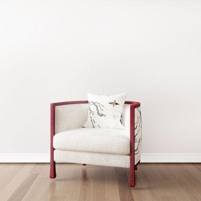 新中式布艺花纹单人沙发