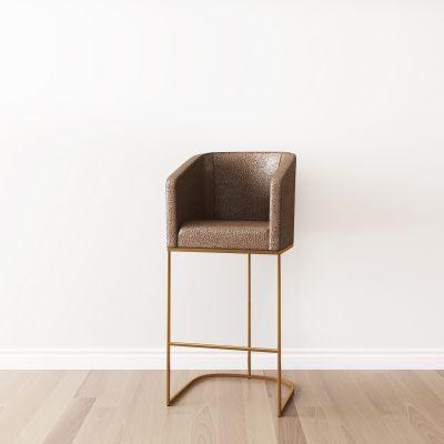 后现代棕色皮革吧椅