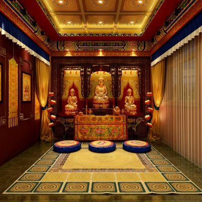 中式风格佛堂模型