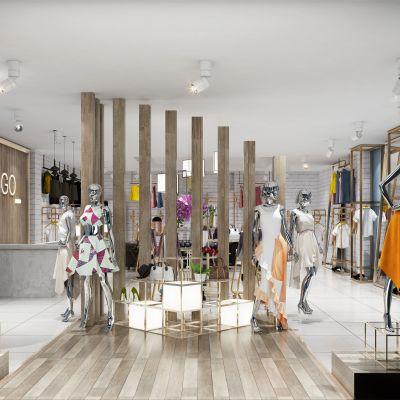 现代轻奢女装服装店模型