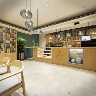 新中式奶茶店模型