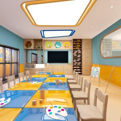 现代风格幼儿园美术室3D模型