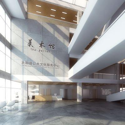 现代风格美术馆大厅模型