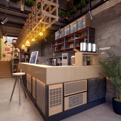 现代奶茶店模型