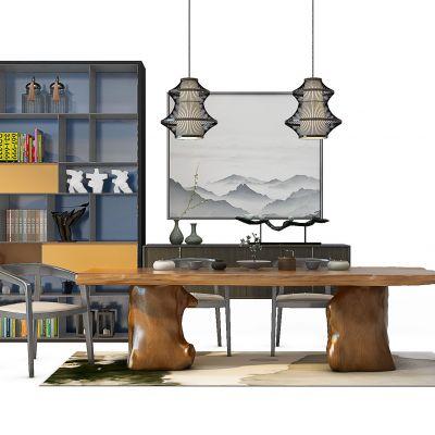 新中式茶椅子书柜