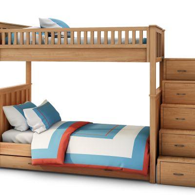 现代实木上下铺儿童床