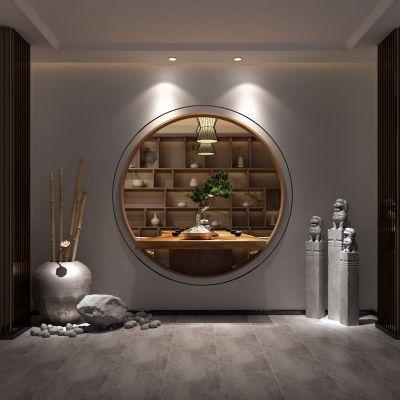 玄关,石狮子,盆栽,茶桌,吊灯