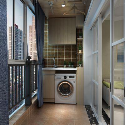 阳台,洗衣柜,洗衣机,晾衣架,盆栽