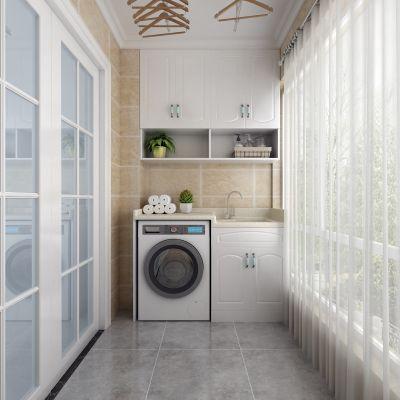 阳台,洗衣机,衣架,纱帘