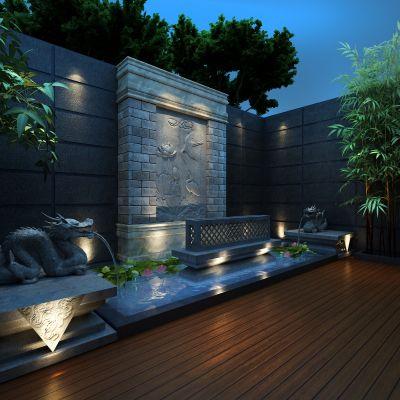 花园,露台,竹,喷泉,荷花