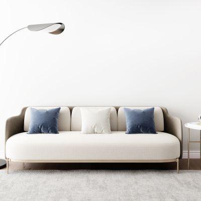 后现代多人沙发圆几摆件落地灯组合