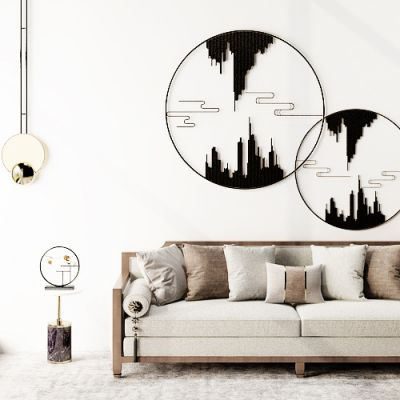 新中式双人沙发圆几台灯吊灯墙饰组合
