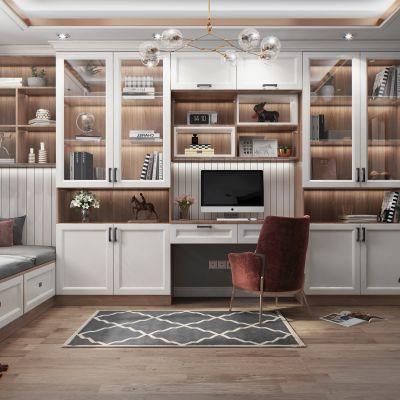 北欧风格榻榻米书房 书柜3D模型