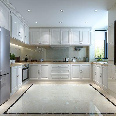 欧式简约厨房  橱柜 吊柜  冰箱 厨具  挂画 3D模型