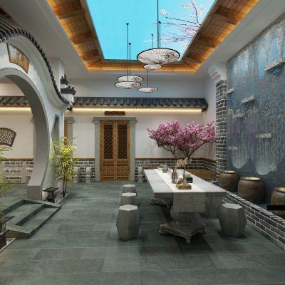 新中式徽派餐厅3D模型