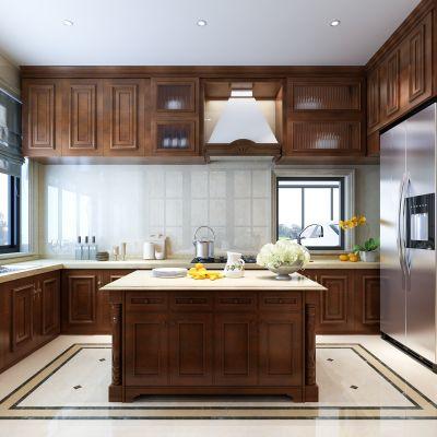 欧式厨房  橱柜 吊柜  水吧台  冰箱  厨具3D模型