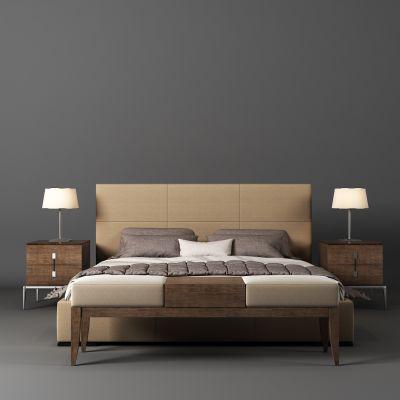现代床床头柜床尾凳3D模型