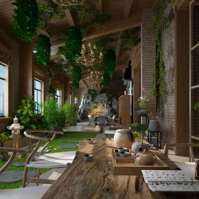 室内花园茶室会所3D模型