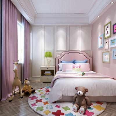 现代女儿房  儿童房   床 床头柜  摆件 玩偶  挂画 3D模型