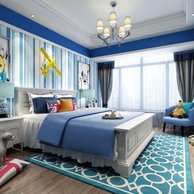 地中海男孩房  儿童房  床 床头柜 台灯  吊灯 单椅  挂画