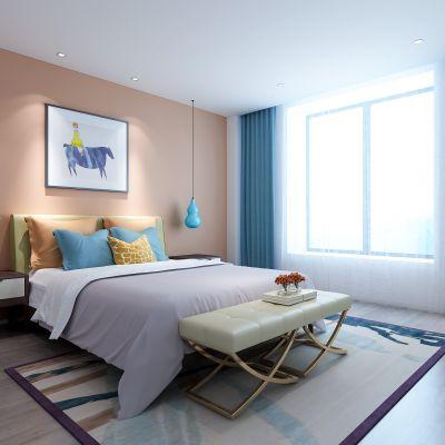 现代儿童房   床 床头柜  摆件 单椅 床榻 挂画 3D模型