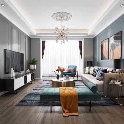 现代轻奢客厅餐厅,沙发,餐桌,电视柜,吊灯,装饰柜,装饰画3D模型