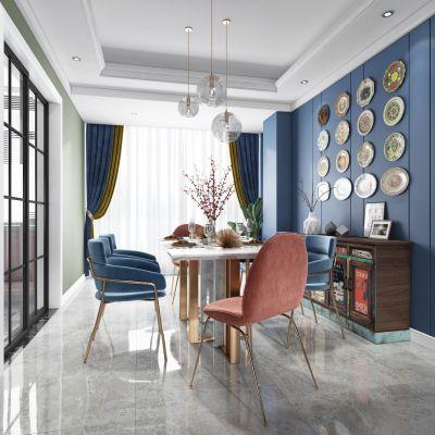 后现代混搭客厅餐厅,沙发,餐桌,电视柜,吊灯,装饰画3D模型