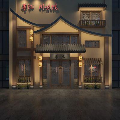 中式门面门头3D模型