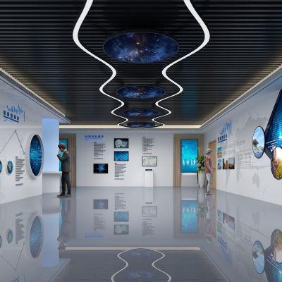 现代企业科技展厅形象墙3D模型
