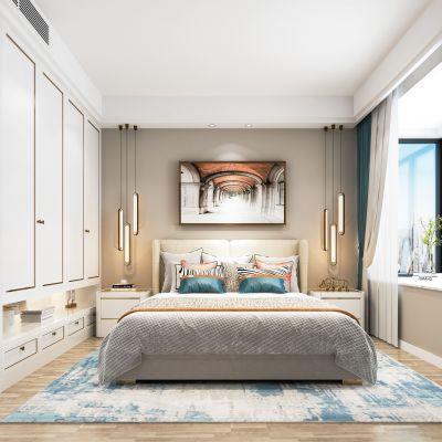 现代轻奢卧室  床  床头柜  摆件 挂画 衣柜 地毯 窗帘 吊灯3D模型